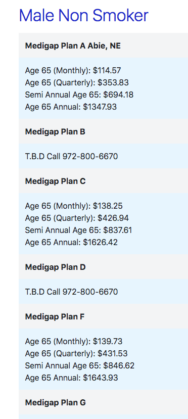 Medigap Plans Comparison Cost Chart