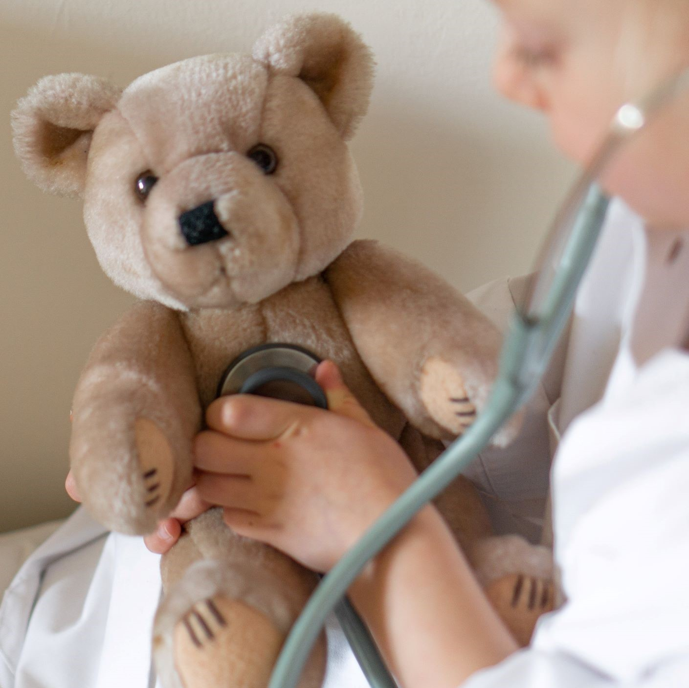 Heart murmur examination on teddy bear